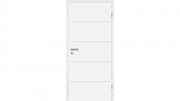 Zimmertür Weißlack RSP vier Querstreifen Eckkante