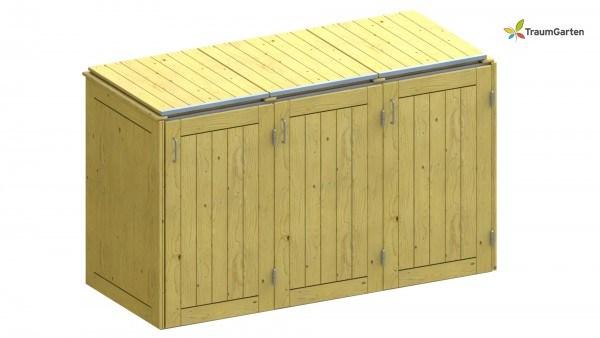 Binto 3er Mülltonnenbox Nadelholz mit Klappdeckel