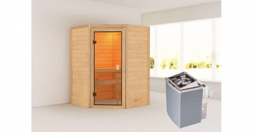 Karibu Woodfeeling Ecksauna Antonia + 4,5kW Saunaofen mit integrierter Steuerung