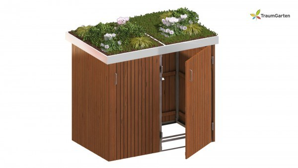 Binto 2er Mülltonnenbox Hartholz mit Pflanzschale