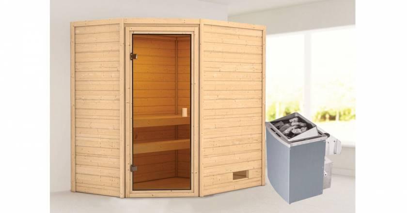 Karibu Woodfeeling Ecksauna Jella + 4,5kW Saunaofen mit integrierter Steuerung