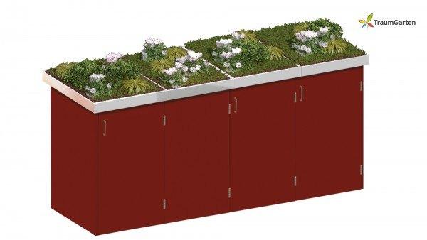 Binto 4er Mülltonnenbox rot mit Pflanzschale