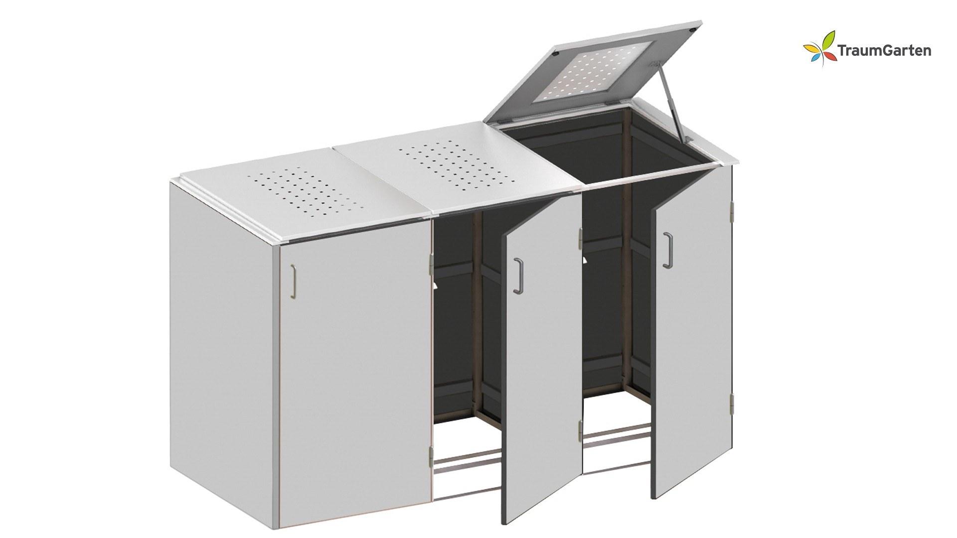 Binto 3er Mülltonnenbox HPL Lichtgrau mit Klappdeckel