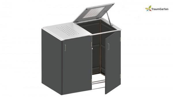 Binto 2er Mülltonnenbox schiefer mit Klappdeckel