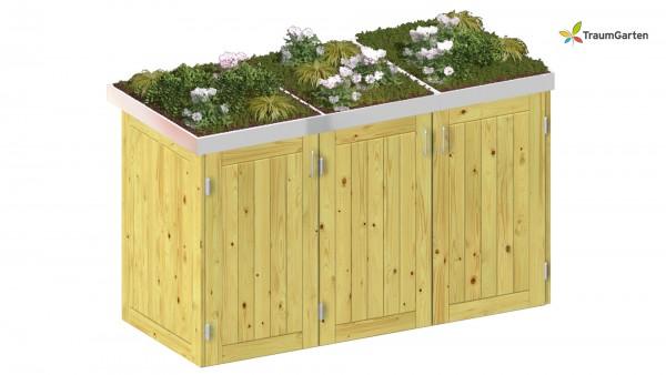 Binto 3er Mülltonnenbox Nadelholz mit Pflanzschale