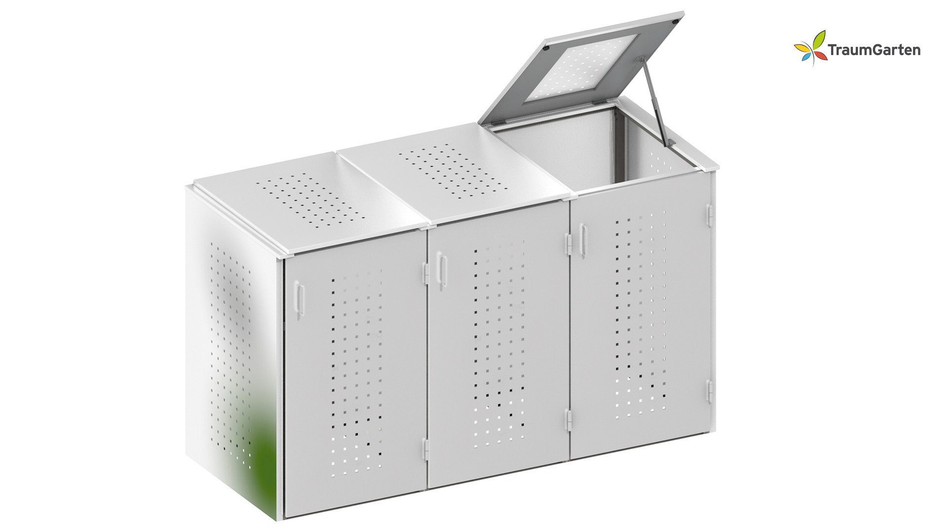 binto 3er mülltonnenbox mit klappdeckel