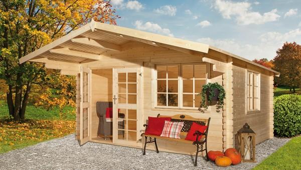 gartenhaus 384 x 284cm 40mm blockhaus mit 150cm vordach. Black Bedroom Furniture Sets. Home Design Ideas