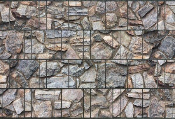 Doppelstabmatte im edlen Steindesign 251x183cm mit Digitaldruck-Flechtstreifen