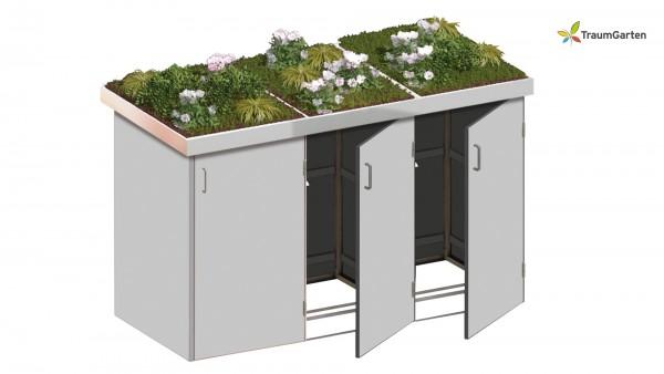 Binto 3er Mülltonnenbox grau mit Pflanzschale