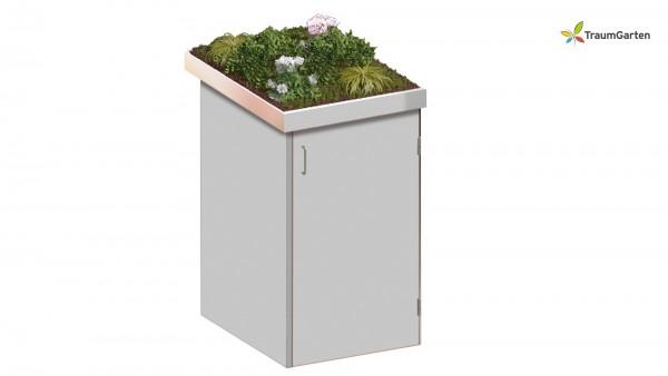 Binto 1er Mülltonnenbox grau mit Pflanzschale