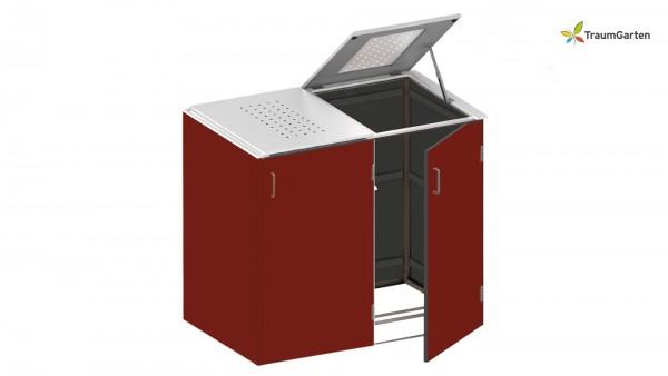 Binto 2er Mülltonnenbox rot mit Klappdeckel