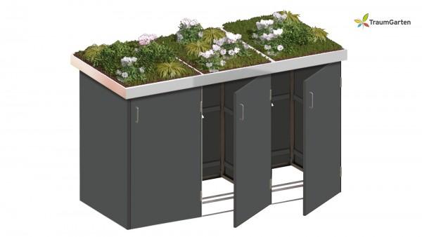 Binto 3er Mülltonnenbox schiefer mit Pflanzschale