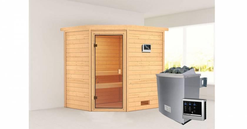 Karibu Woodfeeling Elea Ecksauna + 4,5kW Saunaofen mit externer Steuerung Easy