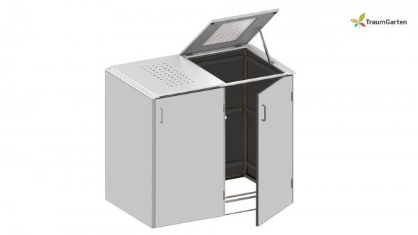 Binto 2er Mülltonnenbox grau mit Klappdeckel