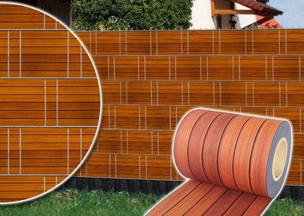 Doppelstabmatte Edelholzdesign 251x183cm inkl. Digitaldruck-Flechtstreifen