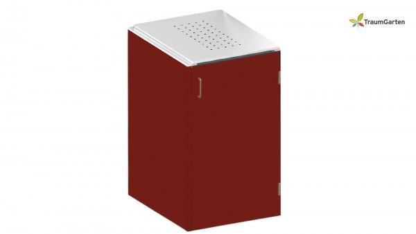 Binto 1er Mülltonnenbox rot mit Klappdeckel