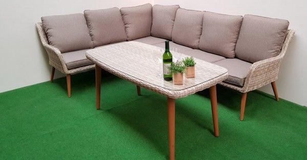gartenm bel dining eck lounge retro sand 16tlg polyrattan beige. Black Bedroom Furniture Sets. Home Design Ideas