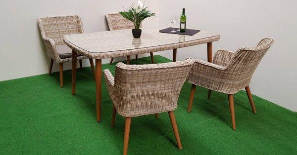 Gartenmöbel Set 9tlg. Retro Sand Polyrattan beige