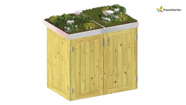 Binto 2er Mülltonnenbox Nadelholz mit Pflanzschale