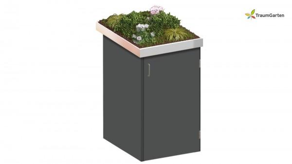 Binto 1er Mülltonnenbox schiefer mit Pflanzschale