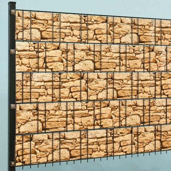 Doppelstabmatte Steindesign grob 251x183cm inkl. Digitaldruck-Flechtstreifen