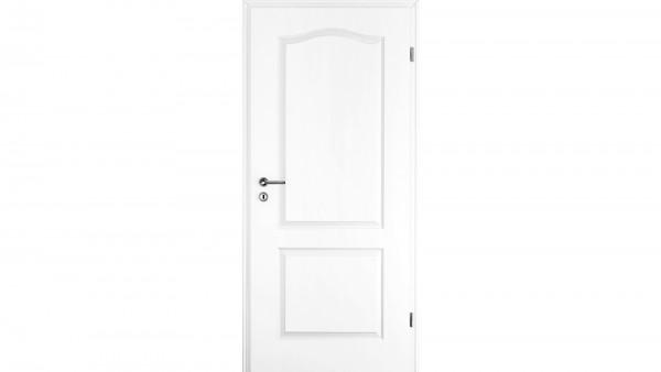 Zimmertür Weißlack RSP zwei Füllungen mit Bogen Eckkante