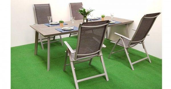 Gartenmöbel Set 5tlg. Aluminium/Textilen mit Polywood-Tisch