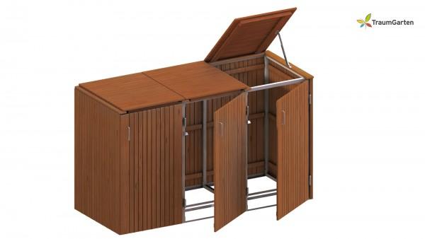 Binto 3er Mülltonnenbox Hartholz mit Klappdeckel