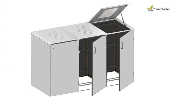 Binto 3er Mülltonnenbox grau mit Klappdeckel