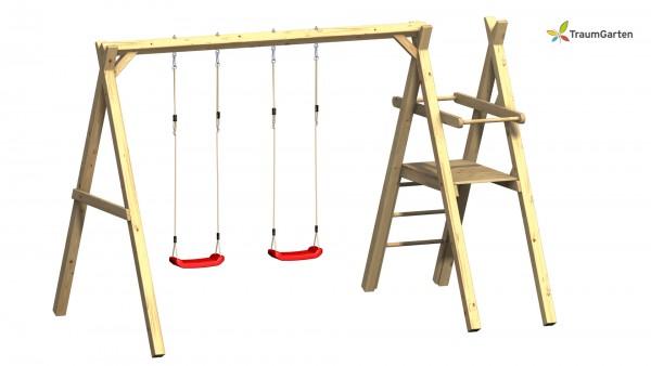 Massivholz Doppelschaukel Fips m. Podest für Rutsche