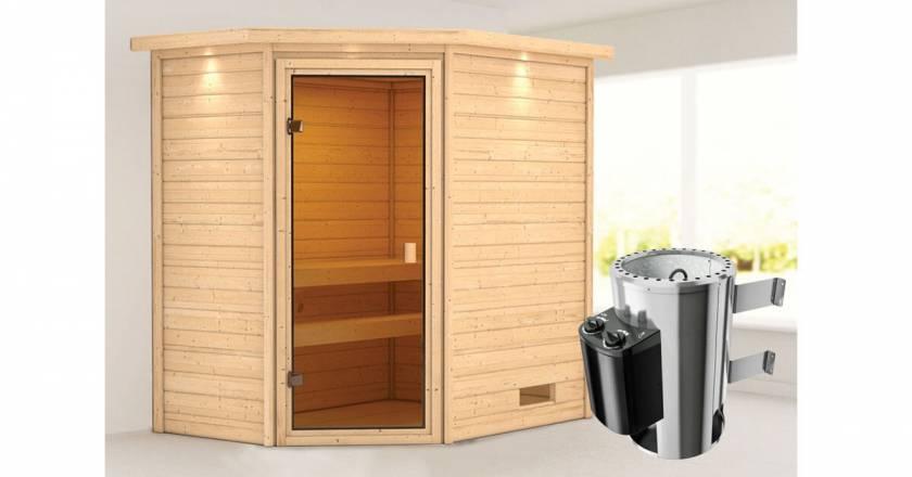 Karibu Woodfeeling Jella Ecksauna mit Dachkranz + 3,6kW Plug&Play Ofen integrierte Steuerung-Copy