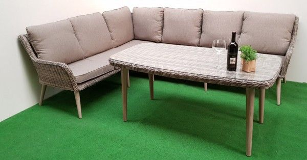 gartenm bel dining eck lounge retro mixed grey 16tlg polyrattan grau. Black Bedroom Furniture Sets. Home Design Ideas