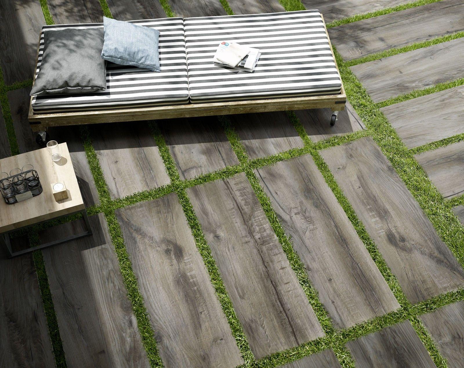 Aktion Terrassenplatte Outdoor Holzoptik grau