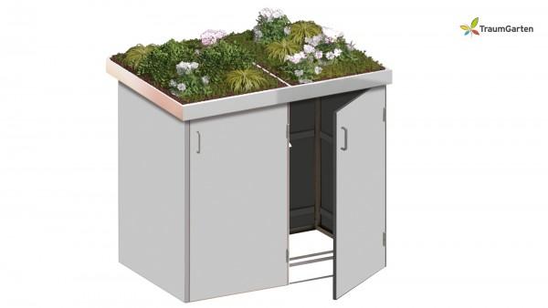 Binto 2er Mülltonnenbox grau mit Pflanzschale