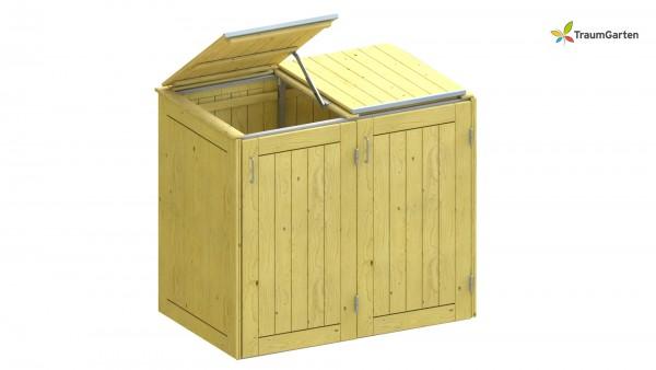 Binto 2er Mülltonnenbox Nadelholz mit Klappdeckel