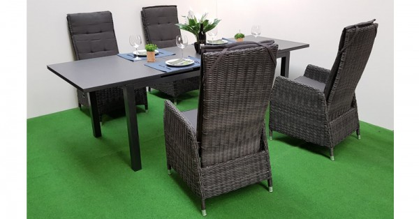 gartenm bel set verona jarvis 13tlg polyrattan anthrazit automatik ausziehtisch. Black Bedroom Furniture Sets. Home Design Ideas