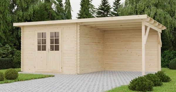 gartenhaus mit anbau und r ckwand 590 x 300 cm 40mm blockhaus. Black Bedroom Furniture Sets. Home Design Ideas