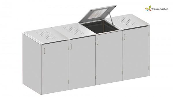 Binto 4er Mülltonnenbox grau mit Klappdeckel