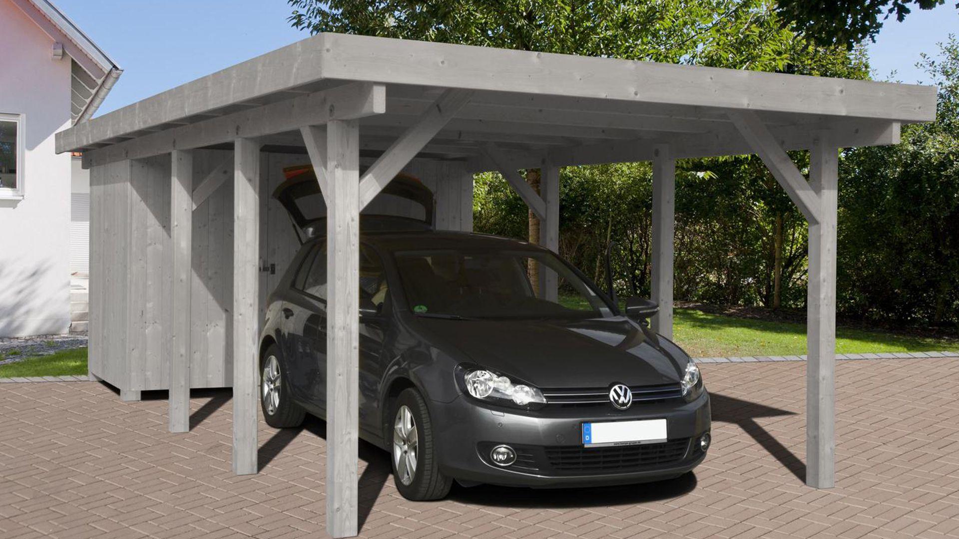 einzelcarport 882191 360 x 760cm silbergrau mit aluminium dachplatten. Black Bedroom Furniture Sets. Home Design Ideas