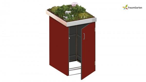 Binto 1er Mülltonnenbox rot mit Pflanzschale