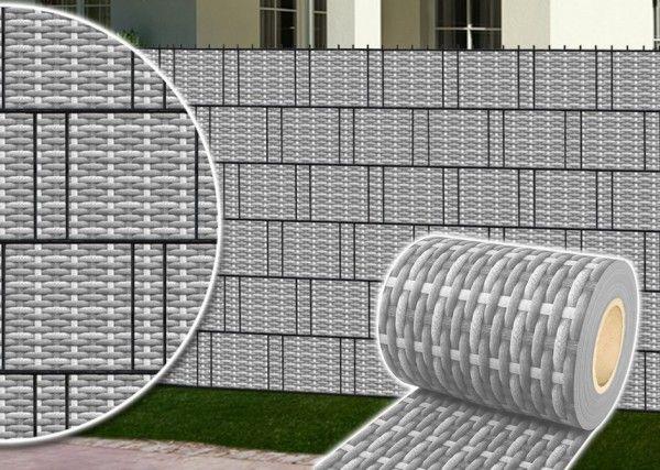Doppelstabmatte Rattandesign grau 251x183cm inkl. Digitaldruck-Flechtstreifen