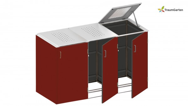 Binto 3er Mülltonnenbox rot mit Klappdeckel