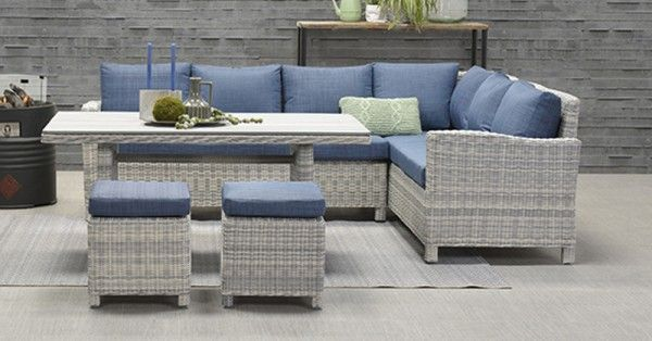Lounge Dining Set Vancouver 5 Teilig Cloudy Grey Petrol Rechts