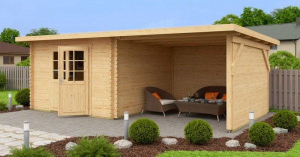 gartenhaus mit anbau r ck und seitenwand 590 x 300 cm 40mm blockhaus. Black Bedroom Furniture Sets. Home Design Ideas