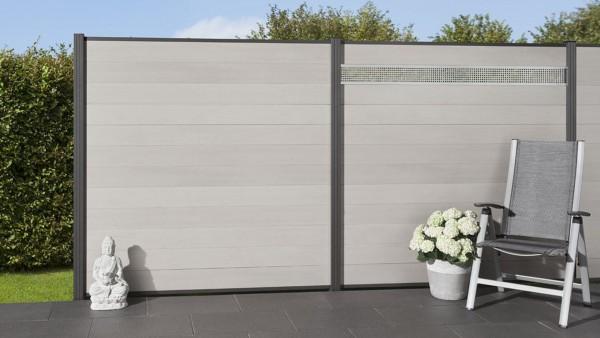 system wpc zaunfeld set bicolor wei steckzaun. Black Bedroom Furniture Sets. Home Design Ideas