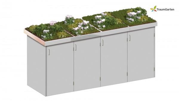Binto 4er Mülltonnenbox grau mit Pflanzschale