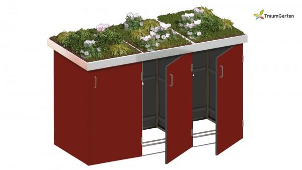 Binto 3er Mülltonnenbox rot mit Pflanzschale